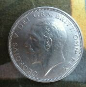 1927 George V Bare Head Coinage Half 1/2 Crown Spink 4032 Crowned Shield Cc2
