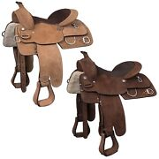 Western Roughout Training Saddle - 15 Or 16 - Light Or Dark Roughout