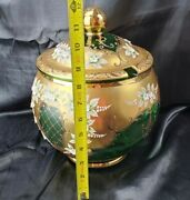 Czech Bohemian Gold And Emerald Green Crystal Punch Bowl 12 Plus 7 Matching Cups