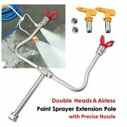 Double Head Airless Paint Sprayer Spray Gun Tip Extension Pole Rod W/ Tip Guard