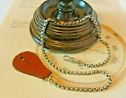 Vintage Pocket Watch Chain 1940s Silver Nickel Albert With Leather Button Fob