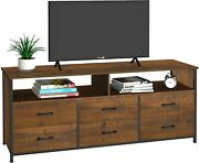 Living Room Farmhouse Wood Tv Console Table Tv Stand W/ 6 Drawer Storage Shelves