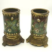 Antique Pair Of Victorian Brass And Painted Milk Glass Oil Lamp Base Garnitures 9andrdquo