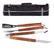 Picnic Time 3 Pc Bbq Tool Set Tote Grilling Spatula Tongs Fork Barbecue Set Eco