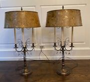 Rare Stiffel Large Brass And Crystal Bouillotte Table Lamps Pair 1950and039s