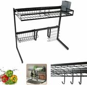 Over The Sink Dish Drying Rack Stainless Steel Dish Drainer Shelf Cutlery Holder