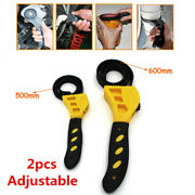 2x Adjustable Strap Wrench Set Hand Tool For Oil Filter For Auto Car Truck Boat
