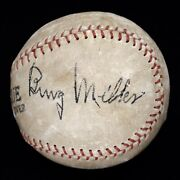 Only Known Bing Miller Single Signed Autographed Baseball D.1966 Jsa Loa Y25231