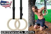 2 Wooden Gymnastic Olympic Rings Crossfit Gym Fitness Training Exercise - Sale