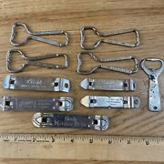 10 Vintage Church Key Beer Bottle Openers Pabst Hamms Coors Lucky Lager Fiesta