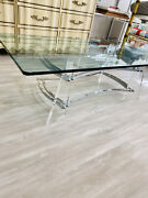 Lucite Vintage Acrylic Coffee Table Mcm Glam Hollywood Charles Glass Retro