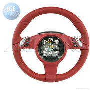 Oem Porsche 997 991 Boxster 981 Cayman 987 Carrera Red Leather Steering Wheel