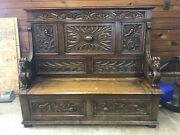 19th Century Antique Carved Bench