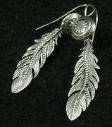 Circle Of Life Concho .925 Sterling Silver Intricate Feather Dangle Earrings 2