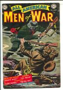 All American Men Of War 9 1954-dc-black Cover-wwi German Soldier In Gas Mask...