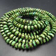 3-strand Sonoran Gold Turquoise Beads Spaced With Olive Shell Necklace Sterling