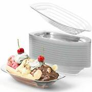 8-12 Oz Disposable Banana Split Dishes, Clear Recyclable Plastic By Avant Grub