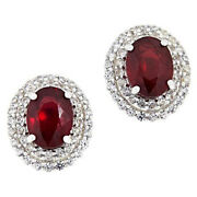Hsn Colleen Lopez Sterling Silver Ruby And White Zircon Stud Earrings 300