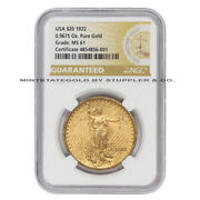 1922 20 Gold Saint Gaudens Ngc Ms61 Choice Graded Double Eagle Unc Twenty Coin