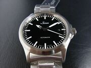 Sinn 556m Automatic Date Menand039s Wristwatch Ss Black Military Unused W/ Box Papers