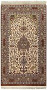 3and0397 X 5and0398 Oriental Rug Ivory Hand Knotted Wool Silk Tree Of Life Deer Birds