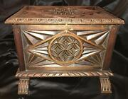 Antique Carved Chest Table Ornate Top Document Coffer Jewelry Sewing Spice Box