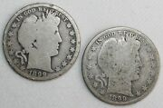 2 Coin Lot1899 And 1899 O Silver Barber Half Dollars 50c Us Type Coins Almost Good