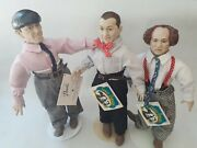 Set Of 3 Three Stooges Dolls With Tags 1991 Moe Curly Larry Hamilton Presents