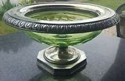 Antique Pairpoint Cut Green Glass Centerpiece Bowl With Silver Rim And Base