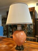 Marbro Coral Marble Pattern Porcelain Neoclassical Lamp W/ears, 33 1/2 Tall