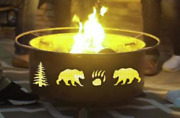 Bears Tree Round Wood Fire Pit Portable Bonfire Camping Bbq Unique Patio Heater