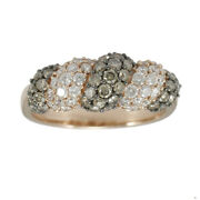 1-1/3 Tcw Brown And White Diamond 14k Rose Gold Twisted Band Ring