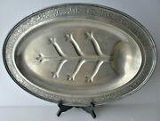 Vtg Farber Bros Silvercraft Epns Footed Serving Tray Well And Tree Hammered 1920