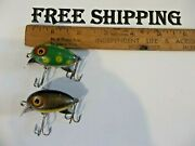 Lot Of 2 Small Vintage Clark Water Scout Minnow Antique Fishing Lure 1 Frog Spot