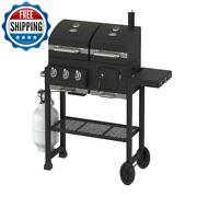 Bbq Grill Charcoal Gas Outdoor Barbecue Meat Cooker Smoker 3-buners Black Yard