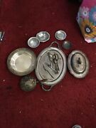 Antique Lot Of Silver Plate Spoons Vase Plates And Odd Items