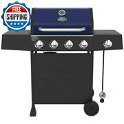 Portable Propane Gas Grill 4 Burner Cooking Barbecue Steel Bbq Outdoor Red Blue