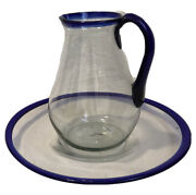 Vintage Hand Blown Mexican Bubble Glass Clear And Cobalt Blue Pitcher And Bowl/dish