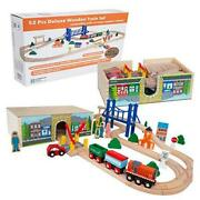 Toys 52 Pcs Deluxe Wooden Train Set With 3 Destinations Fits Thomas, Brio,