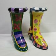Milson And Louis Hand Painted Ceramic Floral Boots 6.5 Tall Collector Shoes Set 2