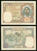 Currency 1941 Algeria 5 Francs Banknote P77b Girl Kerchief Veiled Woman Fruit Vf