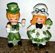 Vintage Lefton St. Patrick's Day Boy And Girl Figurines