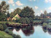 George W. Drew Signed Oil Painting Landscape Country Pond New England