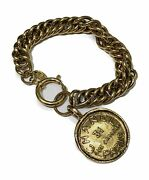 Authentic Vintage Coin Bracelet Gold Made In France Ladies Accessory