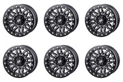 6 Pack 4/156 Tusk Nebo Beadlock Wheel 14x7 4.0 + 3.0 Machined/black