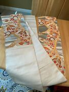 Oriental Brocade Orange Silver Gold Floral Embroidered Table Runner12 X 172