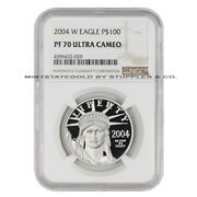 2004-w 100 Platinum Eagle Ngc Pf70ucam Ultra Cameo American 1oz Proof Coin