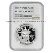 1999-w 100 Platinum Eagle Ngc Pf70ucam 1 Oz American Ultra Cameo Proof Coin