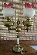 Antique Lamp Electrictwo Acid Etched Shades Brass Double Arm Student Gorgeous