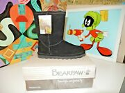 New Bearpaw Emma Womenand039s Short Suede Fur Lined Winter Boots Black Size 7 M